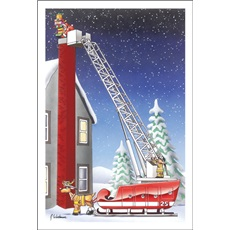Santa On Extended Ladder Sleigh As Fire Truck