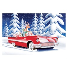 Santa And Mrs. Claus Cruising In T-Bird
