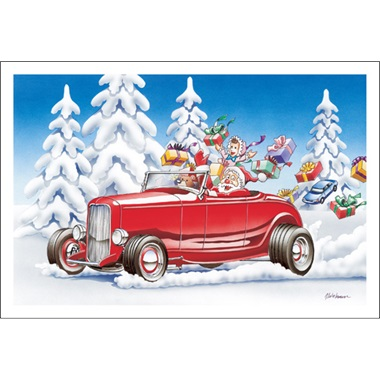 Santa Racing The Street Rod Coupe In The Snow