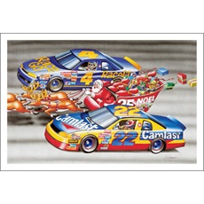 Santa's Sleigh Racing Stock Cars Down The Straight