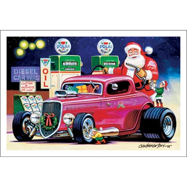 Santa's Gassing Up The Street Rod Coupe