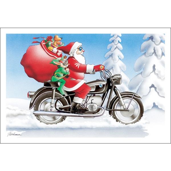 Santa Cruising On Motorcycle